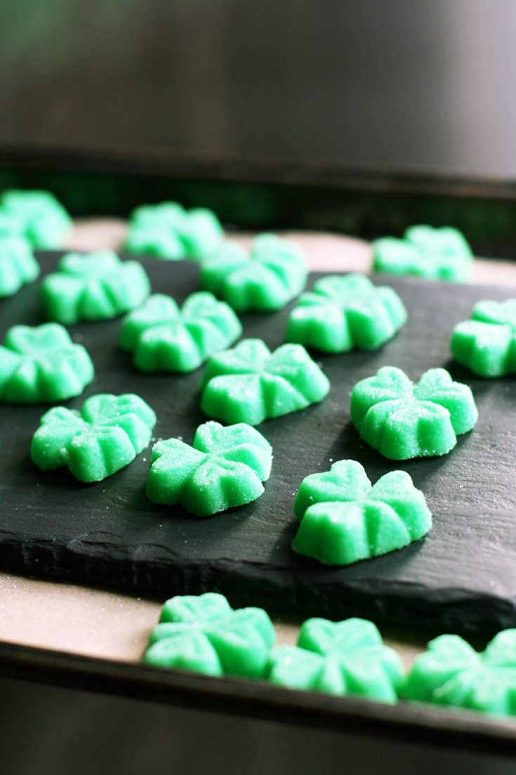 Shamrock mints: Perfect for St. Patrick's Day! This is a cream cheese mint recipe.