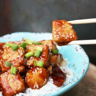 Spicy honey tofu: Sweet caramelized tofu. What could be better?