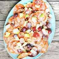 Butternut squash pasta salad with apples, walnuts, and grapes. Click through for recipe!