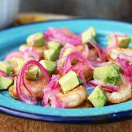 Plantain, shrimp and avocado bites: Paleo and Whole30 friendly. Click through for recipe!