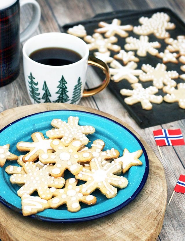 Norwegian pepperkaker cookies: A heavily spiced holiday cookie with royal icing.