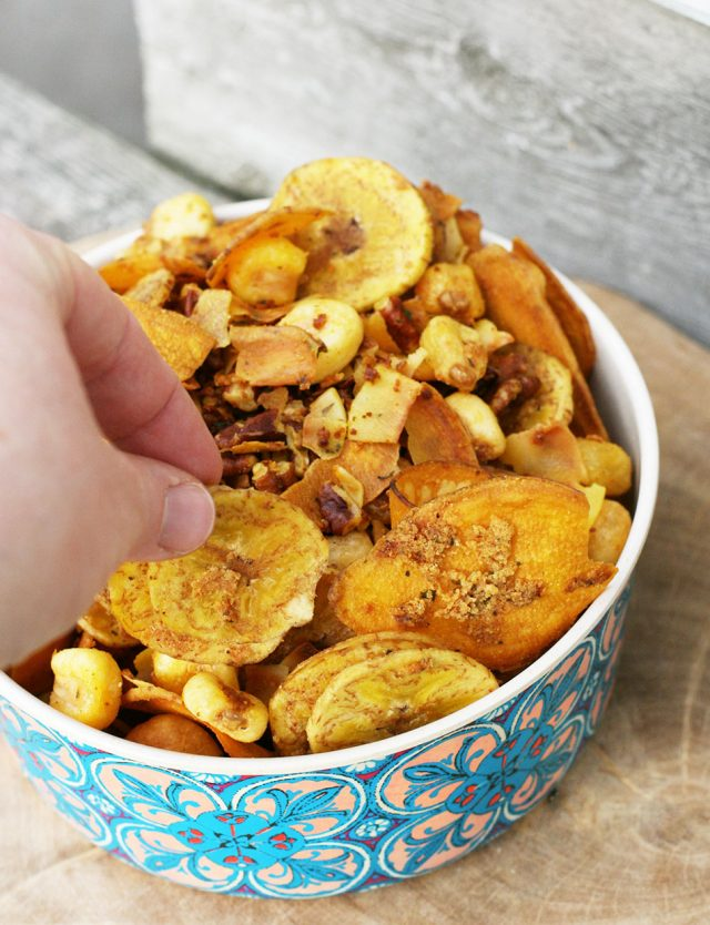 This ranch snack mix is gluten-free and made with plantain chips, Inca corn, and sweet potato chips.