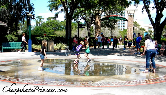 kids play in the fountain at Downtown Downtown