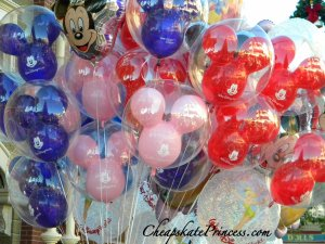 helium balloons, how much are Disney balloons, Main Street at Disney World, Disney Princess balloons