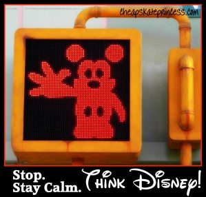 stay calm and think Disney, best time to go to Disney World, when not to go to Disney World, good time to go to Disney, Disney stop light, Disney traffic light, Mickey Mouse stop sign