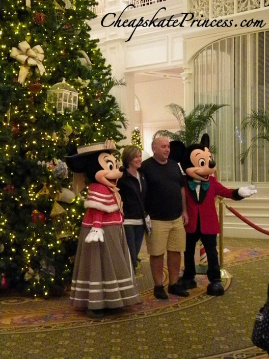 Mickey and Minnie at Christmas, Mickey and Minnie at the Grand Floridian Resort, picture with Mickey Mouse, picture with Mickey and Minnie