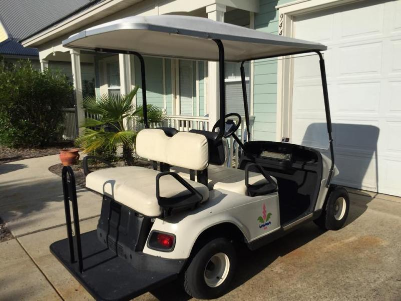 golf cart on a beach vacation