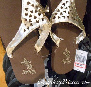 Disney flip flops, flip flops, Disney shoes, Disney shoes on sale, Disney Store sale, what can you guy at the Character Warehouse, a review of Disney's Character warehouse, is Disney's Character warehouse nice, can you find sales on Disney items,