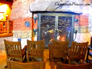 Wilderness Lodge fireplace, Wilderness Lodge, fireplace, huge fireplace, Disney fireplace, what is the Wilderness Lodge fireplace made of, Grand Canyon fireplace, Grand Canyon rock,