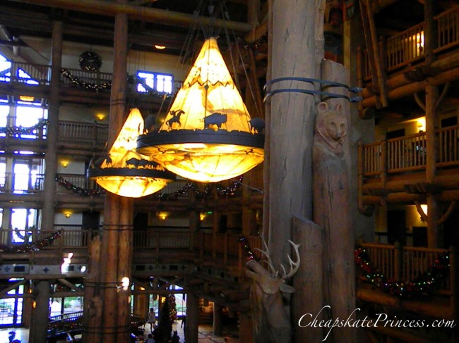 Wilderness Lodge lobby Indian chandelier