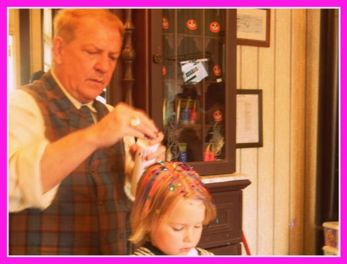 Disney hair cut, Harmony Barber shop at Disney World, Main Street barber shop, girl's haircut at Disney