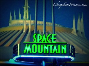 Space Mountain sign, Space Mountain at night, ride Space Mountain