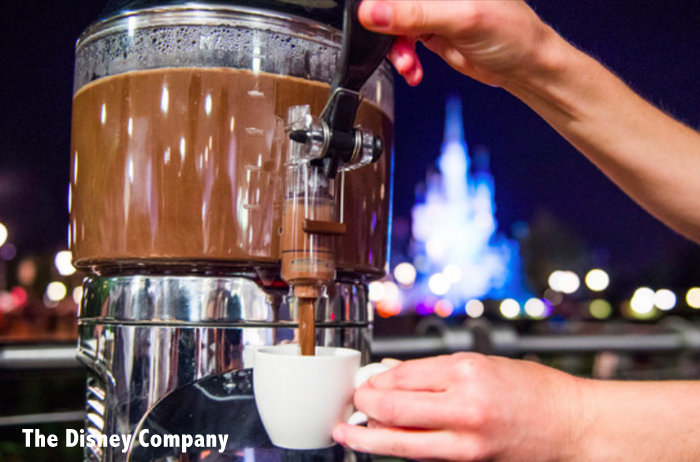 hot chocolate at Disney World Wishes Fireworks Dessert Party