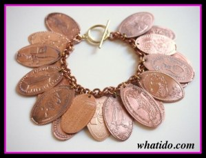 what to do with pressed pennies, make a Disney World bracelet
