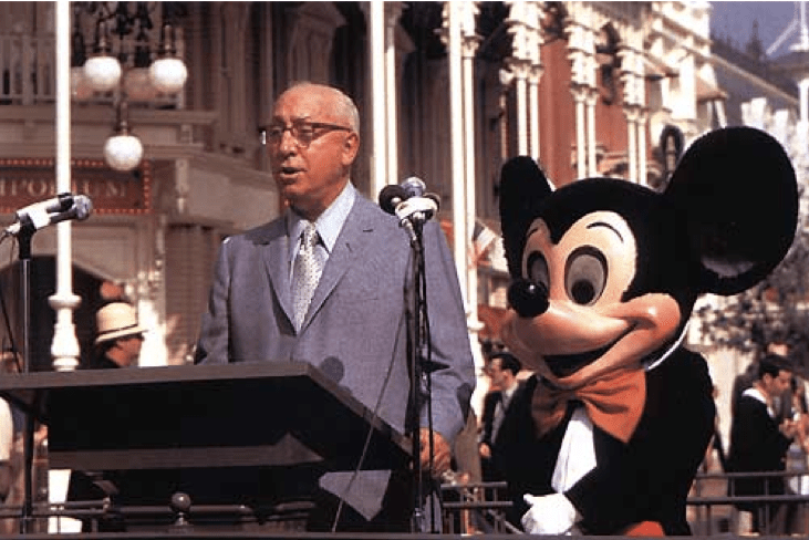 Roy Disney and Mickey Mouse on Disney World Opening Day