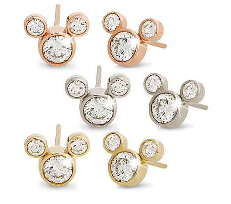Diamond Mickey Mouse gold earrings