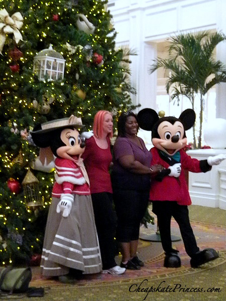 Mickey and Minnie Christmas photos at teh Grand Floridian Resort