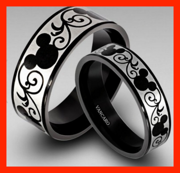 Mickey Minnie matching rings for proposal or wedding