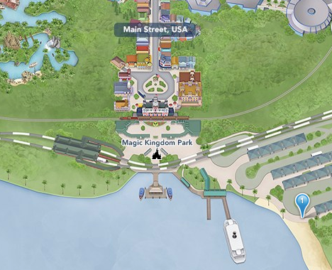 Magic Kingdom smoking location map