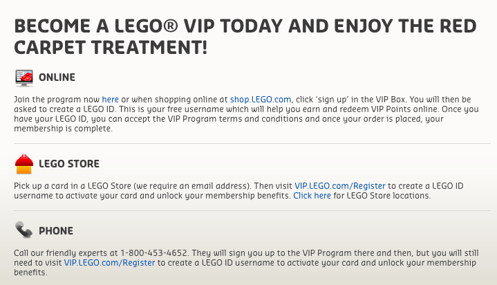 Instructions to become a LEGO VIP