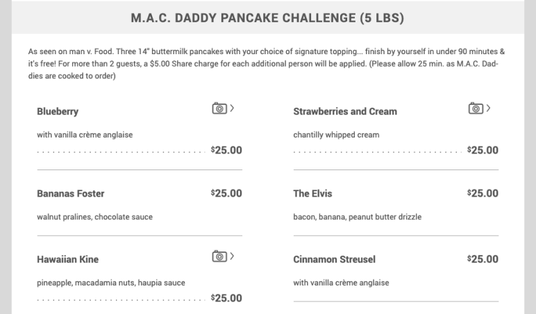 MAC DADDY Pancake Challenge menu