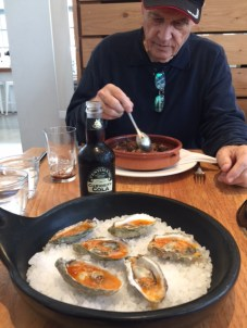 Roasted oysters in butter sherry sauce and dad had an amazing deconstructed french onion soup - outstanding.