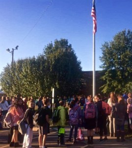 Sycamore Middle School Students in Pleasant View, Tennessee gather together before school on Wednesday, September 28, 2016, to pray in recognition of See You At The Pole initiative started by Dr. James Dobson