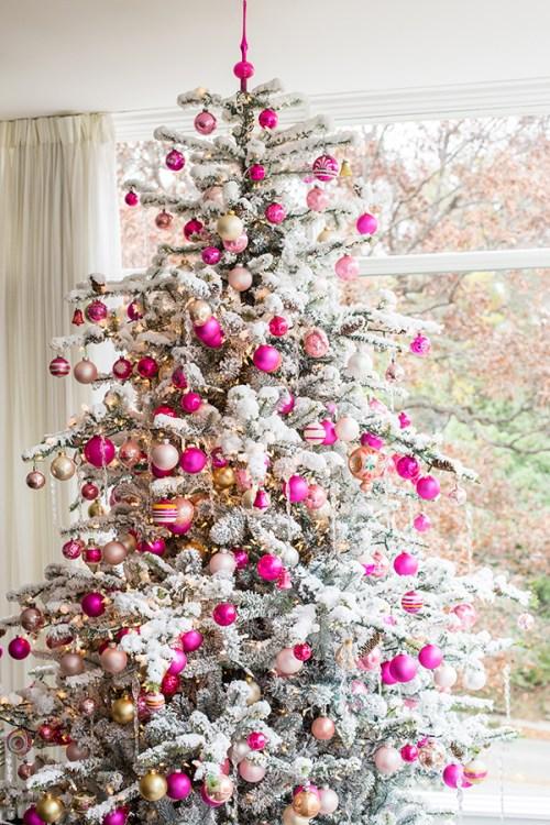 snowy pink christmas tree