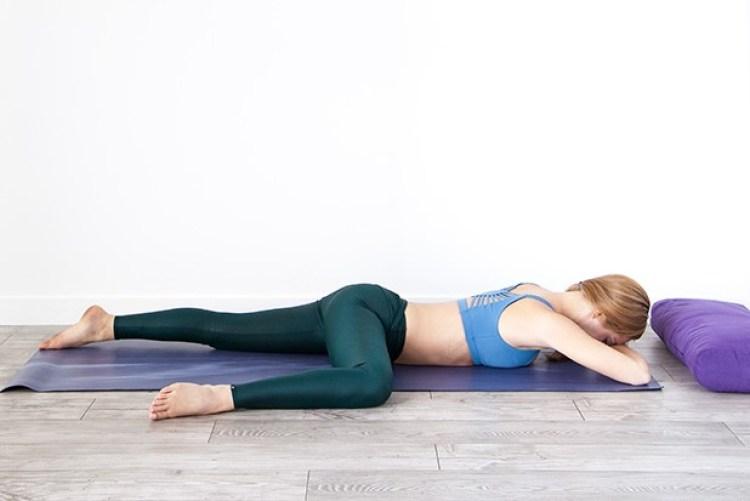 resting half frog yoga pose