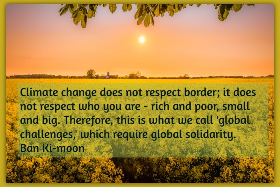 Climate change does not respect border; it does not respect who you are - rich and poor, small and big. Therefore, this is what we call 'global challenges,' which require global solidarity. Ban Ki-moon