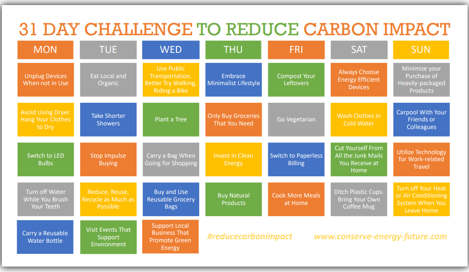31 DAY CHALLENGE TO REDUCE CARBON IMPACT