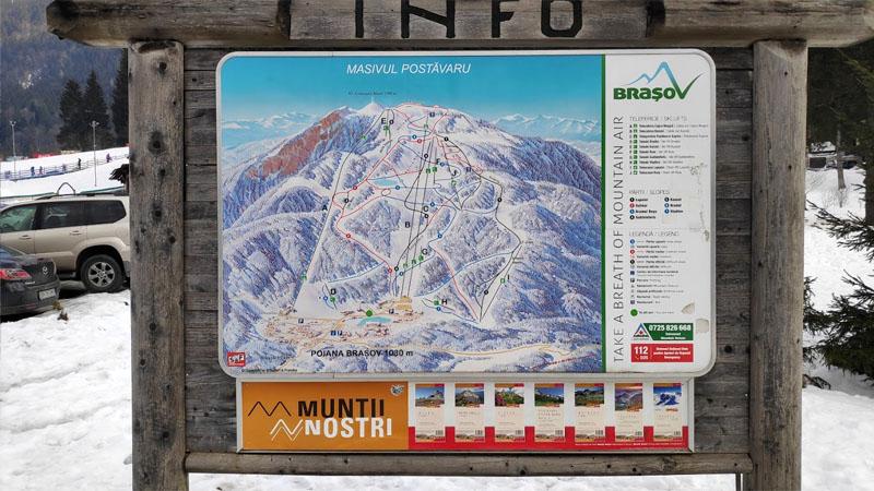 מפה של אתר סקי פויאנה בראשוב רומניה
