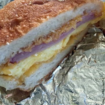 Inside of an English Muffin Breakfast Sandwich from Model Bakery