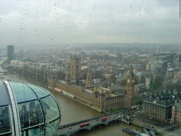 The view from the London Eye when it is raining - London, England
