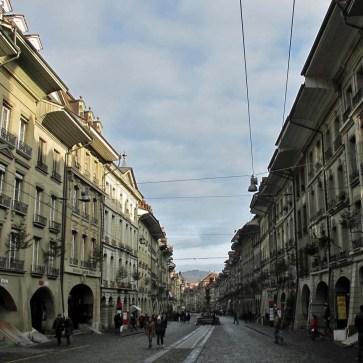 Pedestrian zone with stores and restaurants - Bern, Switzerland