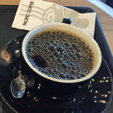 A cup of coffee at a Pacific Coffee in Hong Kong, China