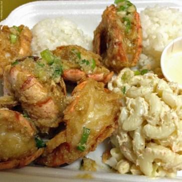 Garlic butter jumbo shrimp plate at Broke Da Mouth - Kailua-Kona, HI