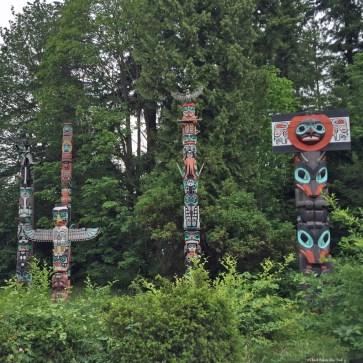 Totem Poles in Stanley Park - Vancouver, British Columbia, Canada