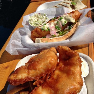 Red Fish Blue Fish dishes of fish and chips, fish sandwiches, and tacones - Victoria, British Columbia, Canada