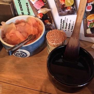 Ginger and soy sauce at Endo - Osaka, Japan