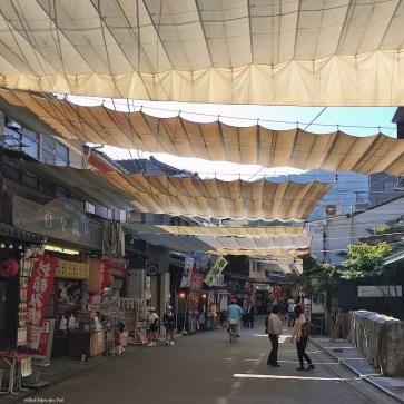 Street with shops on Miyajima Island - Itsukushima, Japan