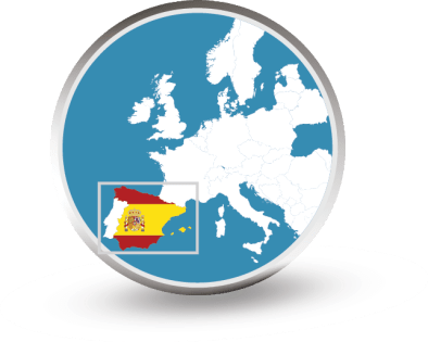 Europe map - Spain highlight