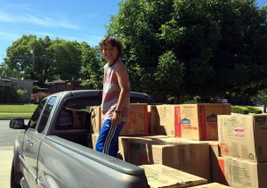 Moving boxes using Dad's truck
