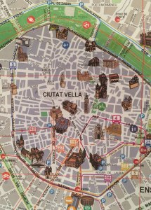 Map of the old city Valencia, Spain