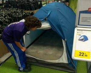 Decathalon tent on display