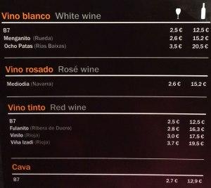 menu of inexpensive wine choices