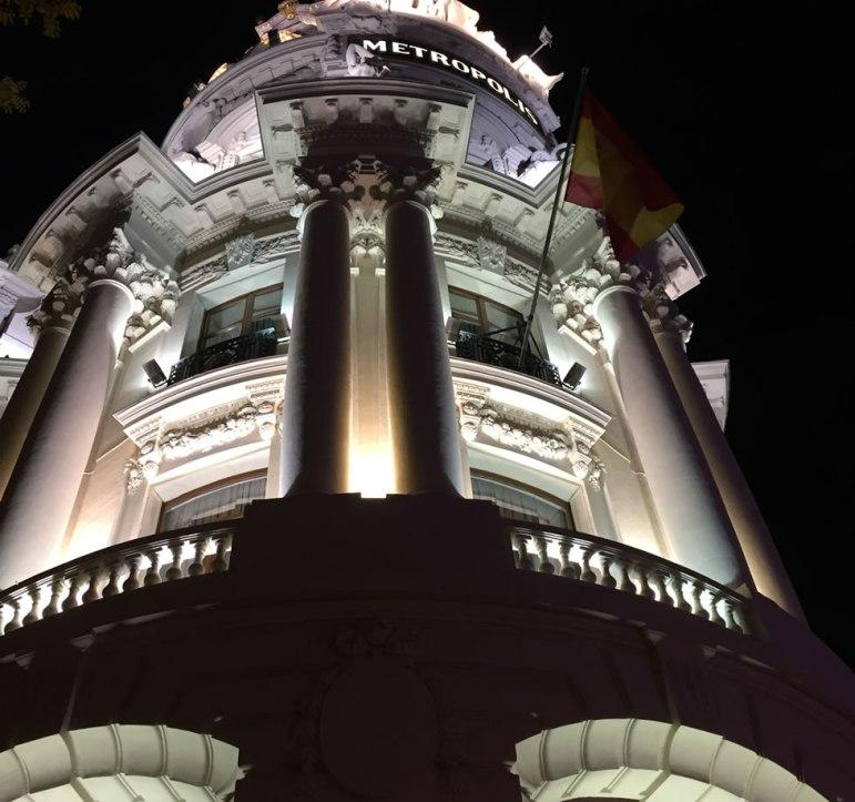 tall interesting building in Madrid Spain