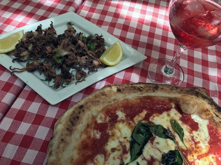 pizza, calamari and campari
