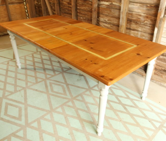 Completed Faux Inlay Table Makeover