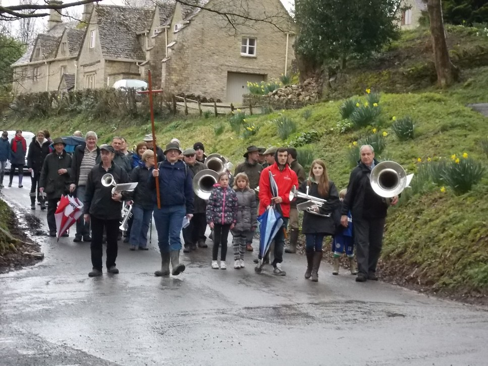 Good Friday 2014 Rev Stephen leading his flock at Tuns Hill triangle.